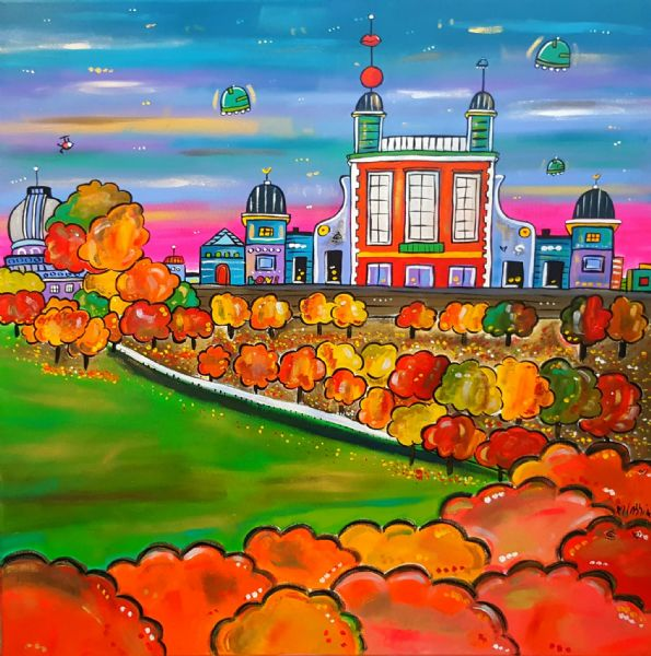 Autumn Royal Observatory,Greenwich,80 x 80 cm,original acrylic painting